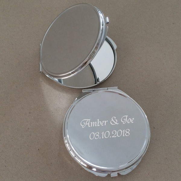Personalized Round Chrome Compact Mirror (Sold in a single piece)